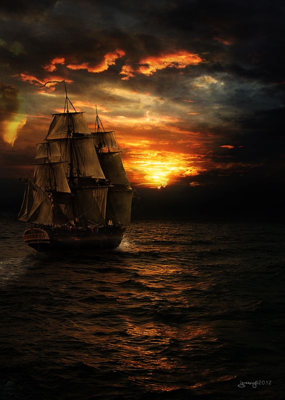 .: Tallships, Pirates, Sailing Ships, Tall Ships, Sunset, Art, Sea