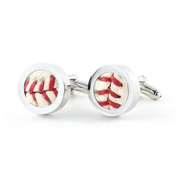 Game-used Baseball Cufflinks - I know a man who must have these!  www.owenandfred.com