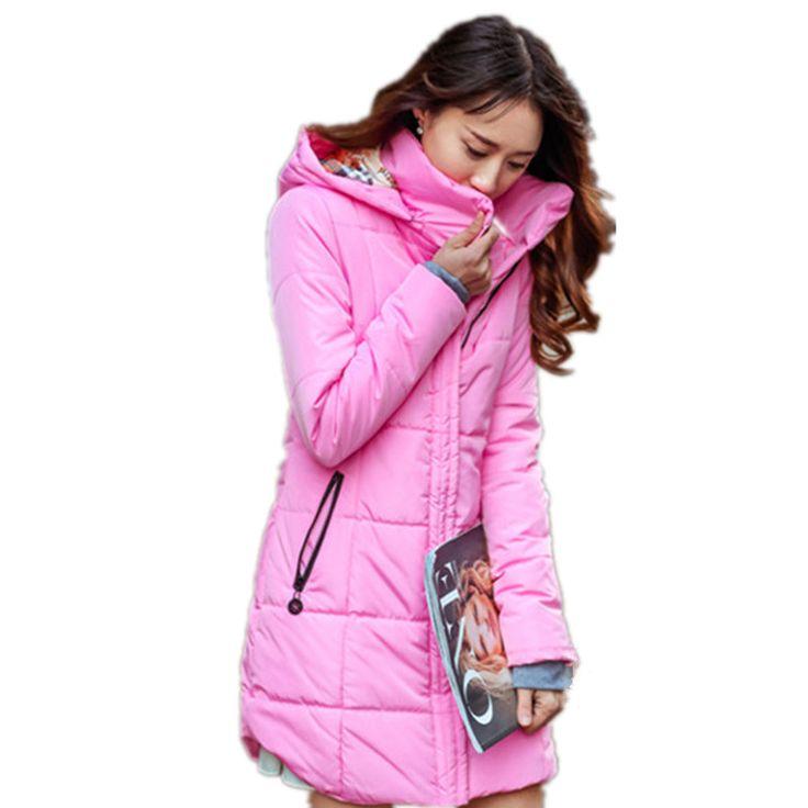 Plus size Candy color Slim Down Cotton coat women Parka 6XL Autumn winter jacket Women Thick Hooded Cotton-Padded Jacket TT1685C