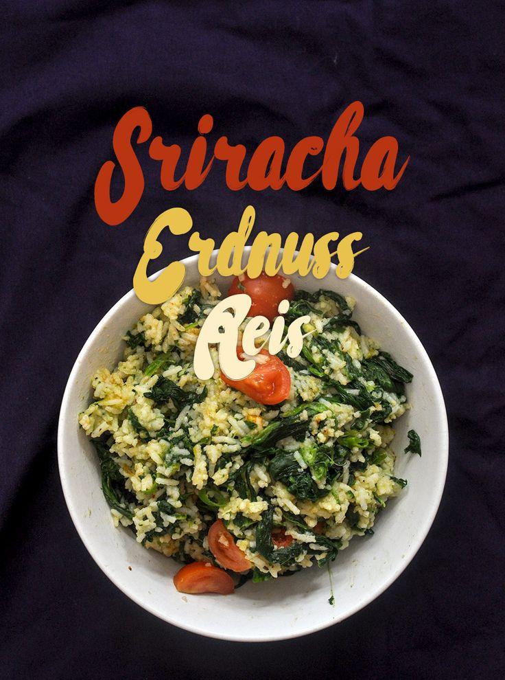 Erdnuss Reis mit Srirachasoße von Flying Goose ist eine meiner großen Mahlzeitlieben, besonders lecker zu Spinat, Brokkoli oder gemischtem Gemüse.