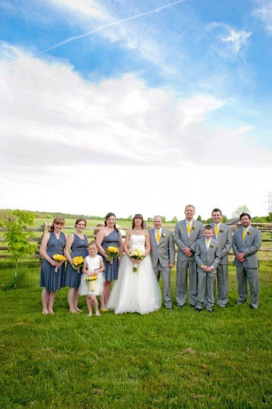 wedding wednesday: charcoal grey and yellow on the farm!