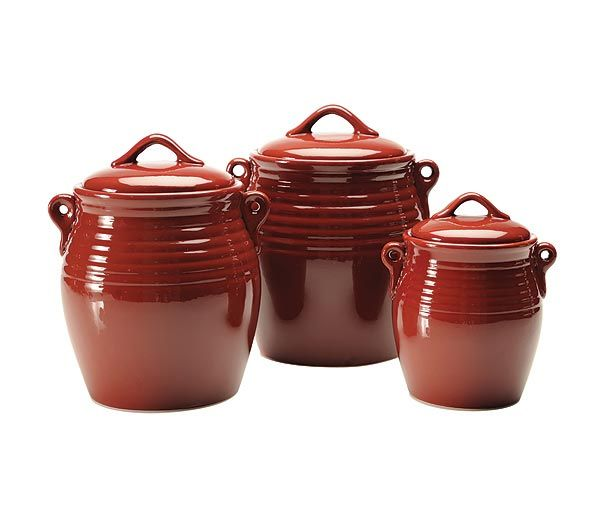 Ceramic kitchen canister set red polka dot ceramic for Kitchen set red