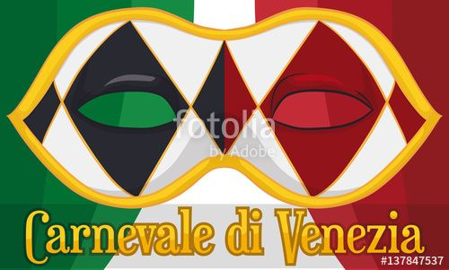 Iconic Harlequin Colombina Mask for Venice Carnival and Italian Flag