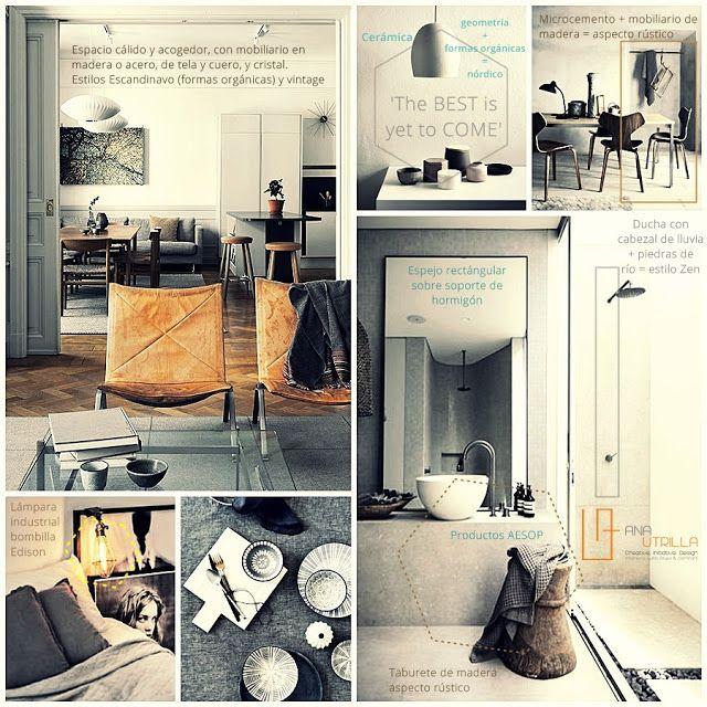 Moodboard de ambientes de estilo nordico y rustico inspiracion de tonos grises por Ana Utrilla diseño de interiores