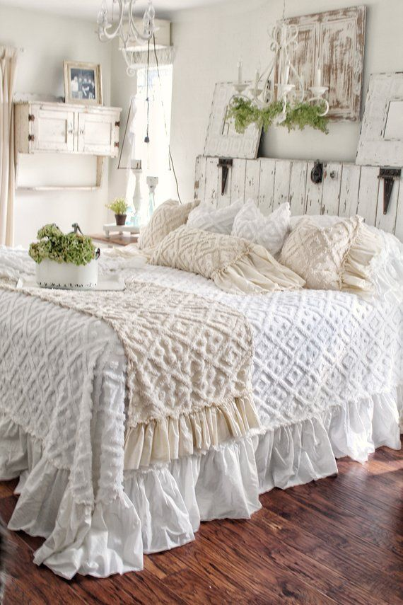 ruffled chenille coverlet bedspread in 2019 products shabby chic rh pinterest com