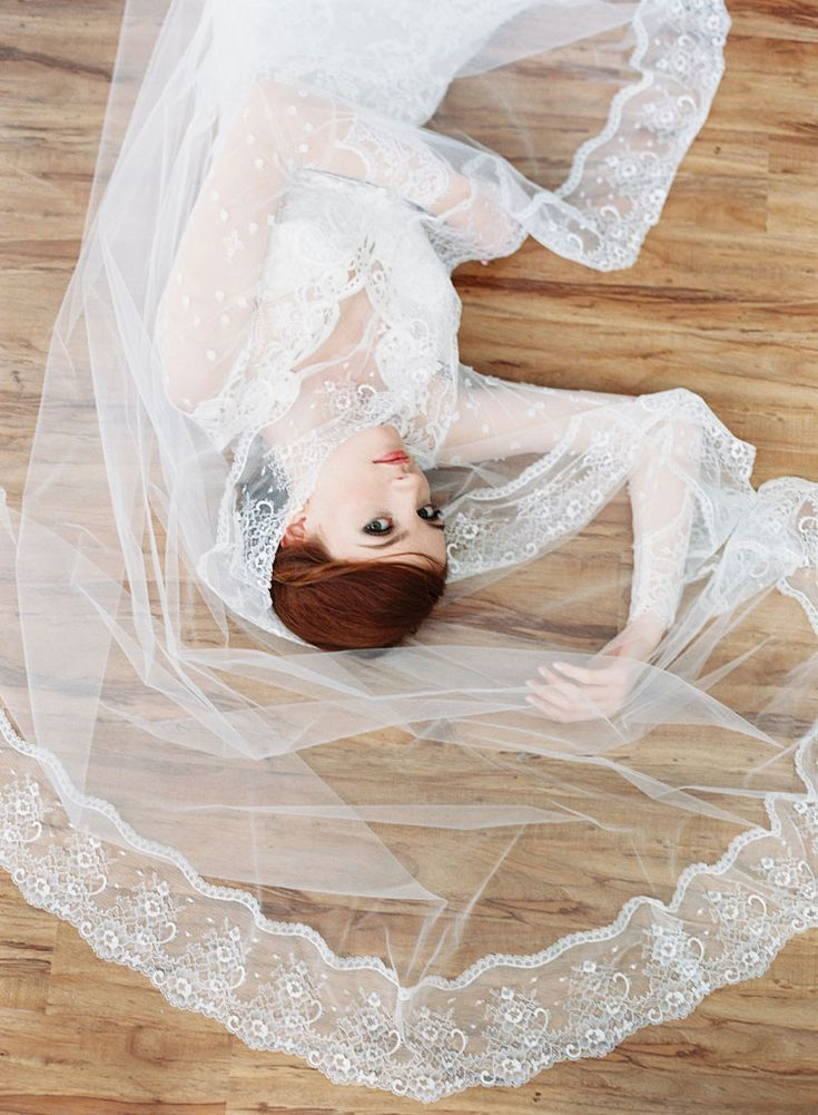 bridal veil by erica elizabeth + vintage lace Lily wedding dress by claire pettibone.  photography by caroline tran.
