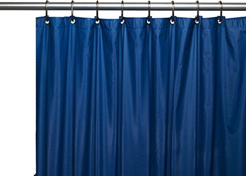 Heavy Duty Magnetized Shower Curtain Liner Mildew Resistant Navy Blue Metals Showers And Curtains