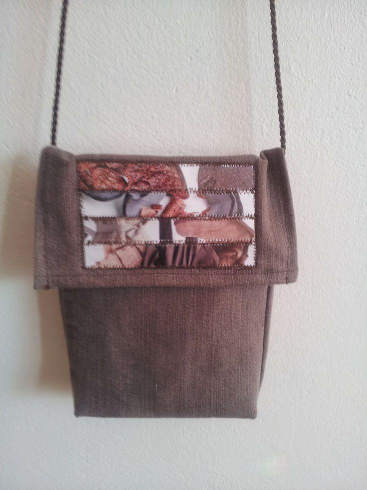 Ruskea pieni farkkulaukku, etuosa // Brown small jeansbag, frontside