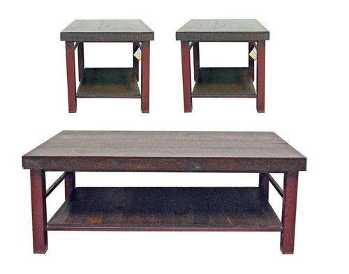 3 PC Rustic Reclaimed Iron Coffee Table & End Table Set