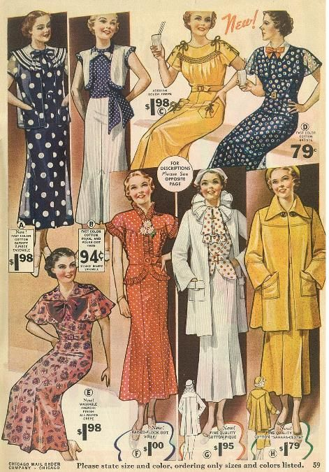 Chicago Mail Order Sale Catalog August 1936 30s Fashion Style Color Photo Print Ad