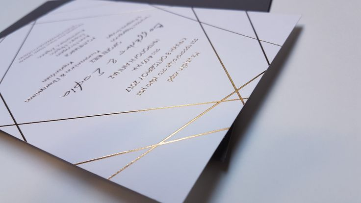 Modern geometric wedding        invitation with gold foil
