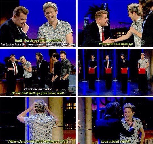 Niall stressing during the game of tattoo roulette on The Late Late Show with James Corden - December, 2015