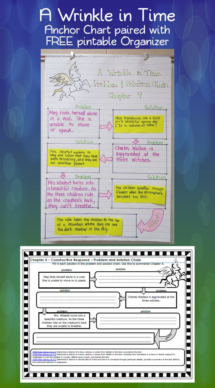 A Wrinkle in Time Anchor Chart with free printable organizer