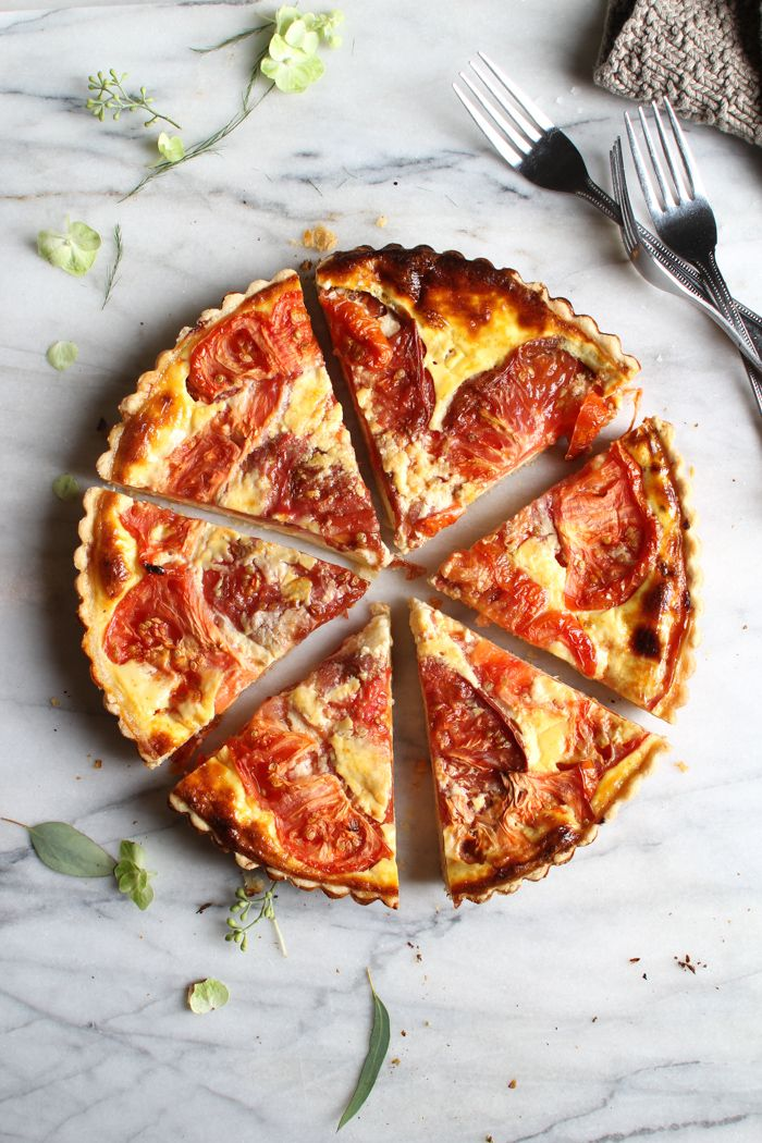 Tomato and Cheddar Tart with a Savory Parmesan Crust