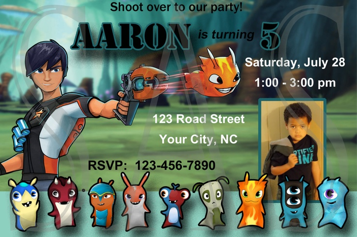 Slugterra Custom Birthday Invitation W/Photo by SAScreatives, $10.00
