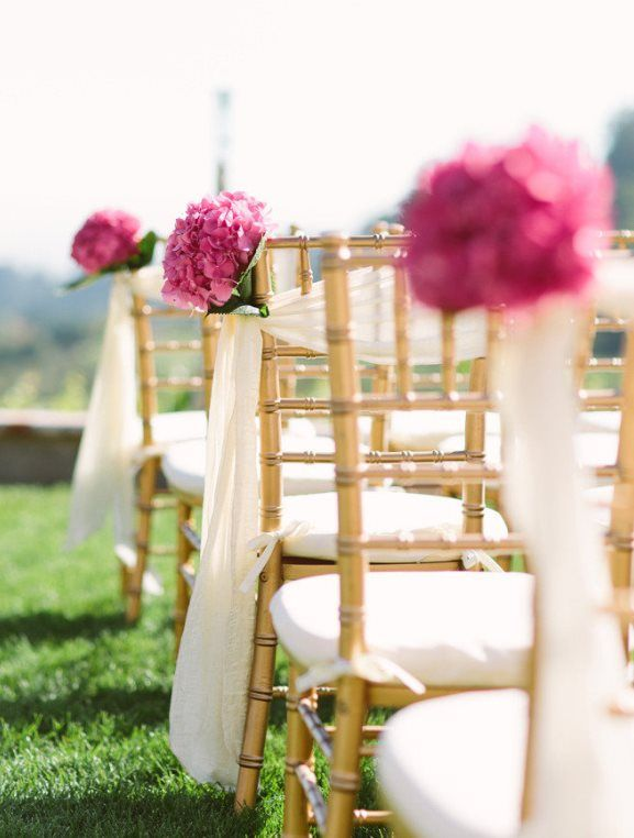 Simple Outdoor Wedding Aisle Decorations Ceremony Decor With Pink Flowers