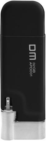 DM AIPLAY 32GB (черный)  — 3990 руб. —  USB-флешка DM AIPLAY снабжена дополнительным штекером Lightning. Благодаря этому она может использоваться для переноса информации между компьютером и мобильными девайсами от Apple. Универсальное применение. Компактные размеры и небольшая толщина штекера делают устройство совместимым с большинством защитных чехлов для iPhone и iPad.Максимальная надежность. В изготовлении флешки используются наиболее качественные материалы – нержавеющая сталь и мягкий…