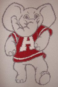 Big Al Finished Cross Stitch Crimson Tide University of Alabama Mascot Ready to Frame or quilt. $40.00, via Etsy.