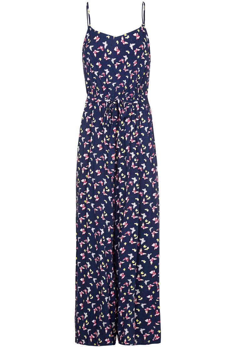 Ολόσωμη φόρμα με τιράντες σε μπλε χρώμα με πολύχρωμες πεταλουδες και ελαστική μέση με δέσιμο | Yumi London | Phillyshop.gr