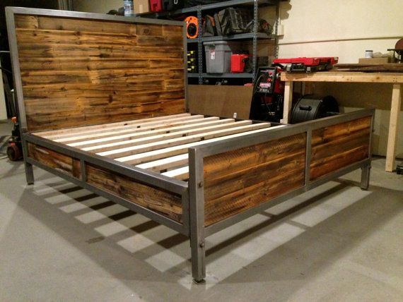 reclaimed wood and steel bed by foundpurpose on etsy - Steel Bed Frames