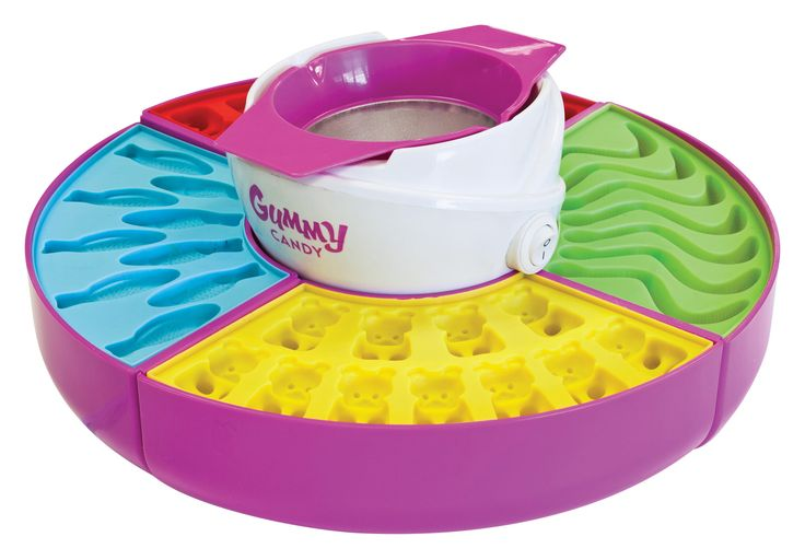 Features:  -Make fish, bear and worm gummy candies.  -4-silicone gummy candy molds and ice trays for quick-setting gummies.  -1-gigantic gummy bear mold.  -2-non-stick removable gelatin pot with easy-