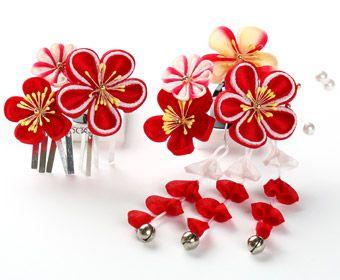 hair-higaki | Rakuten Global Market: Ornament kabukichō flowers 3-year-old plum flower child thumb crafted kabukichō ornament set 2 set yukata plum Red Red sleeping pachin I s