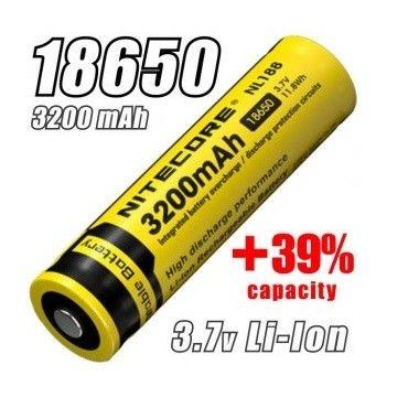 Nitecore- Li-Ion 18650 3.7V 3200 mah Batteria ricaricabile protetta