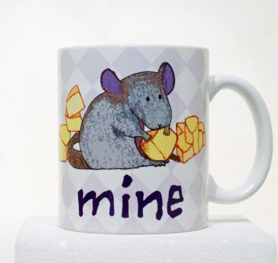 Mine Mouse Cheese Mug by tamarakraft on Etsy, $14.95   Ain't the sweet rat just too cute?  This is apparently a customizable mug from Etsy.  I wonder if they can customize the rat colors?