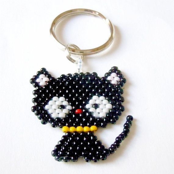 Cute Beaded Black Kitty