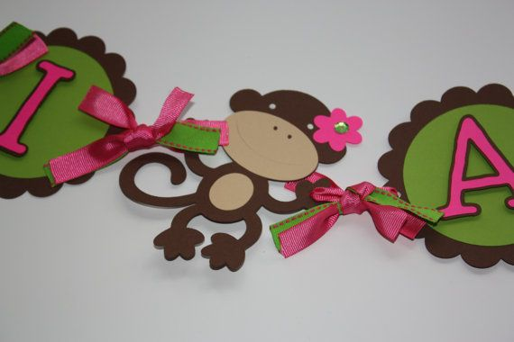 Monkey Girl Birthday Banner by yady1978 on Etsy, $28.00