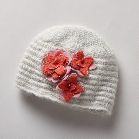 CAROLINE CLOCHE - Inspired by Paris designer Caroline Reboux's invention of the cloche hat, often trimmed with flowers, ours follows suit, adding bead-edged felt flowers to soft handknit. Fleece lined. Imported. Exclusive. One size fits most adults.