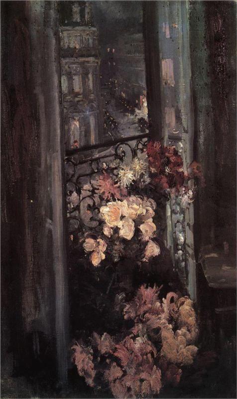 Konstantin Korovin (Russian 1861–1939) [Impressionism, Art Nouveau] A Parisian Balcony, 1908. Tretyakov Gallery, Moscow, Russia.