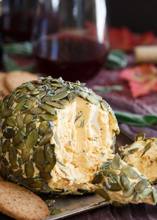 This pumpkin herb cheese ball is perfect for fall appetizer spreads. Throw an adult Halloween party and make sure this is on the menu!