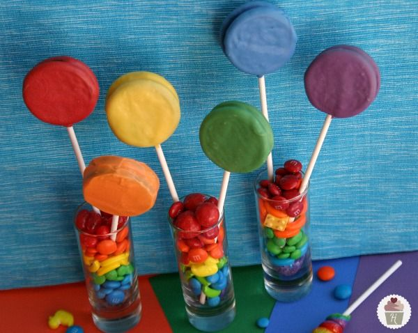 Rainbow Oreo Pops...they look so cool and would be super easy!