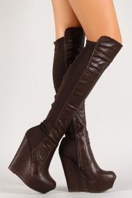 Brown Faux Leather Mixed Media Platform Wedge Thigh-High Boots @ Urban Originals $40 LOVE