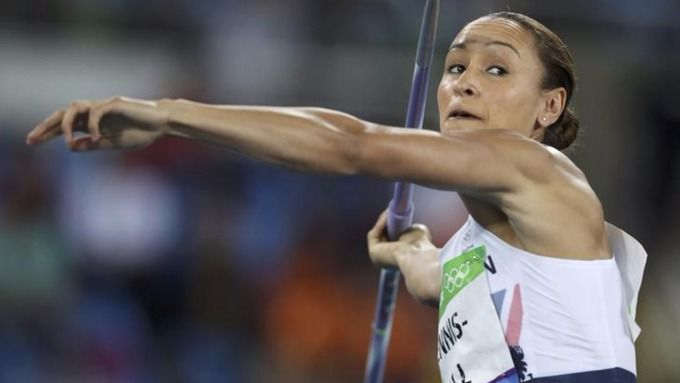 Jessica Ennis-Hill throws the javelin.