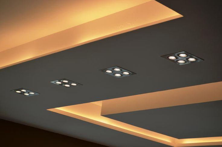 Close up view of modern ceiling design in Living Hall with Samsung LED spot lights and cove lighting effects