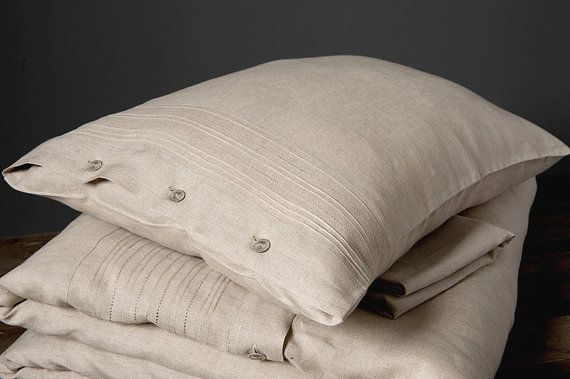 Linen pillow case, raw linen bedding, gray bedding, bedding set, organic bedding, pillow cover, gift for him for her, natural bedding set.  $20.79 +USD.    Ships worldwide from Lithuania.  Cost: $7.36 2-3 weeks.
