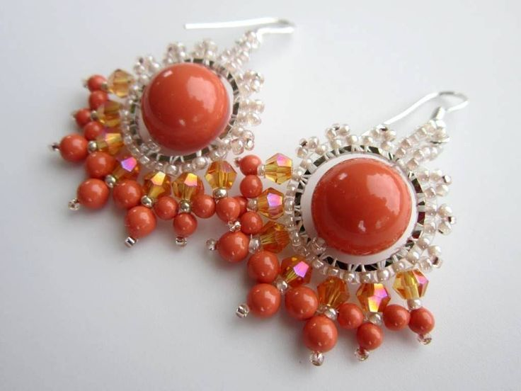 Coral Earrings.  Коралловые серьги