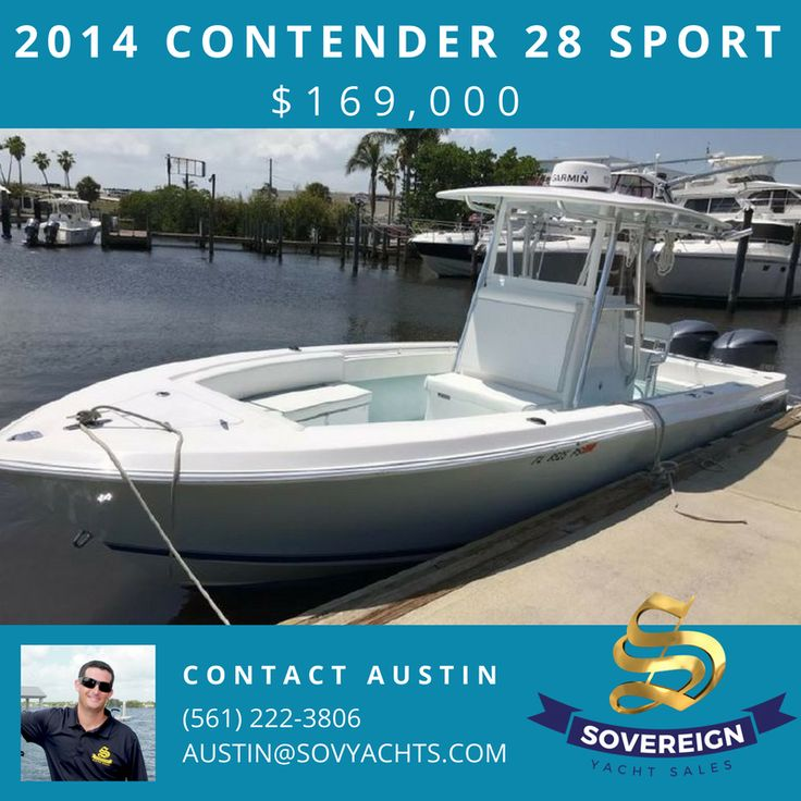 2014 Contender 28 Sport - Twin 300hp Yamaha's, 400 hours, Warranty for another 3 years, Custom Cowlings, Twin Garmin Screens, Auto Pilot, Radar, Outriggers, Electric Reel Outlets, Head, Fusion Stereo with JL Audio Speakers, Hard Top with Rocket Launcher, All Service Records, Well Maintained, Loaded with Options! $169,000 Contact Austin Myszkowski (561) 222-3806 #ContenderBoats #SovYachts #Boatsforsale #BoatingLife ⚓