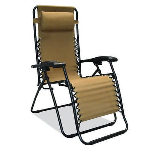 Outdoor Lounge Chair Patio Furniture Relax Home Backyard Fabric New Beige #1