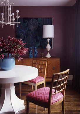 gorgeous purple dining room designed by Angie Hranowsky