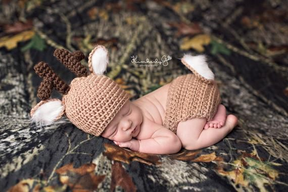 Crochet Whitetail Deer Newborn Baby Photo Prop/Diaper Cover/Beanie Set/Baby Shower Gift /Photography Prop/Infant Newborn Halloween Costume  – Baby fever