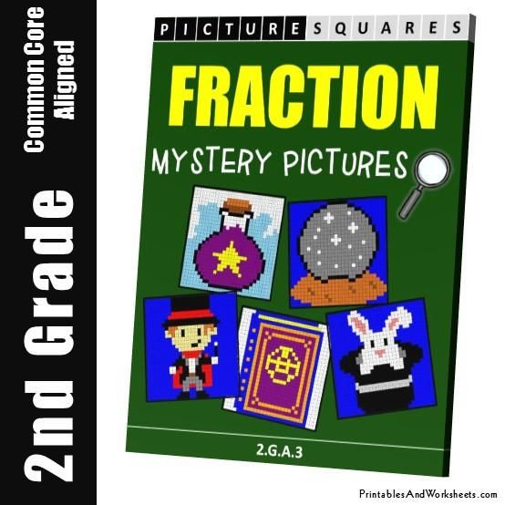 Grade 2 Fraction Mystery Pictures Coloring Worksheets