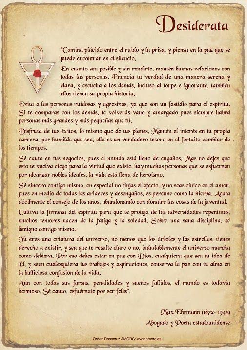 Max Ehrmann Desiderata En Espanol