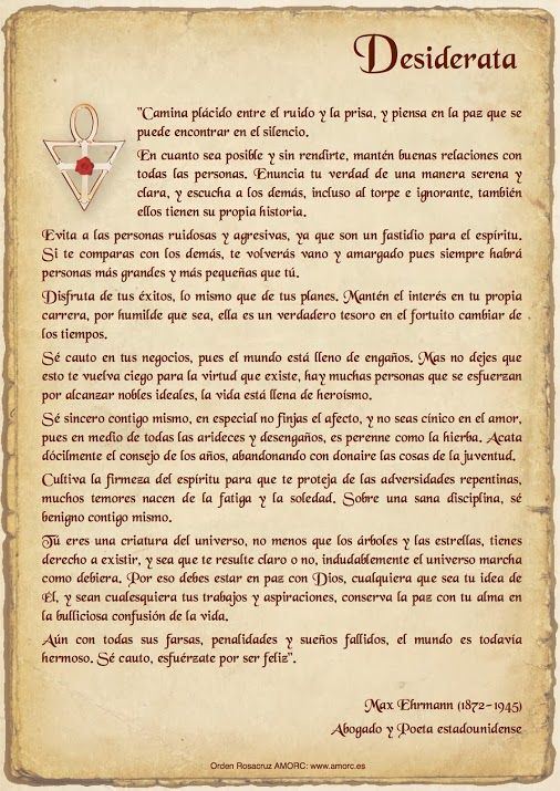 Poema Desiderata Espanol