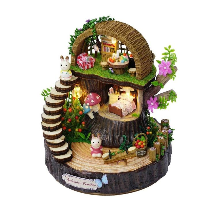 DIY <b>Miniature</b> Fantasy Forest Wooden <b>Doll House</b> with LED Light ...