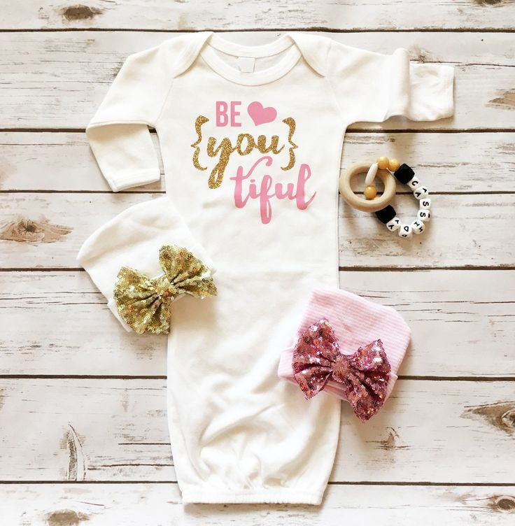 Be {YOU} tiful Baby Sparkle Gown and matching newborn hospital hat with a sequin bow -- The perfect coming home out for a newborn baby girl. Makes a wonderful baby shower gift. See more at www.shopcassidyscloset.com