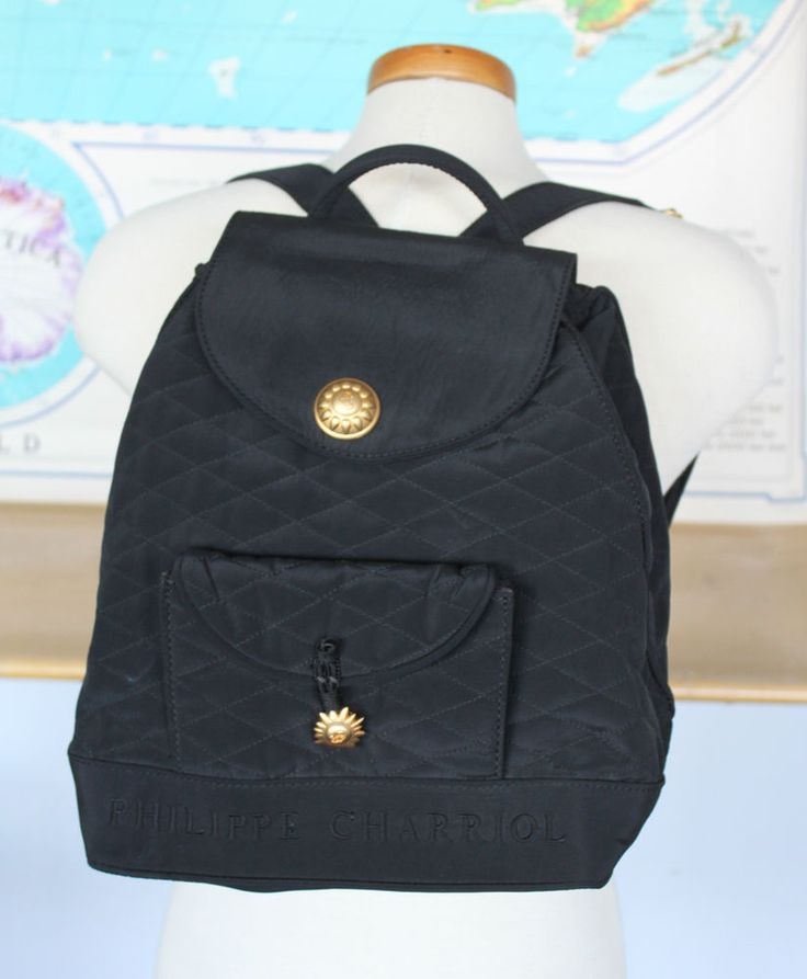 Philippe Charriol Vintage Black Quilted Mini Backpack Bag Gold Sun Logo Italy | eBay