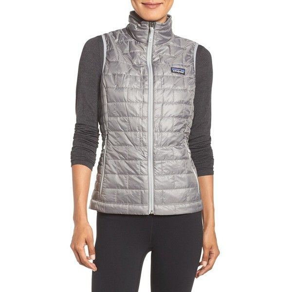 Women's Patagonia 'Nano Puff' Insulated Vest (9.235 RUB) ❤ liked on Polyvore featuring activewear, feather grey, patagonia sportswear and patagonia